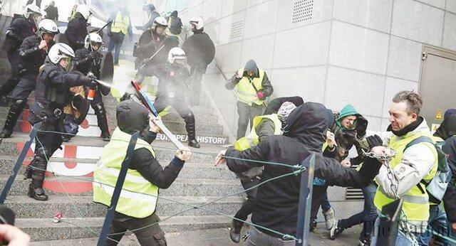 راهپیمایی بدون مجوز جلیقه زردها در بروکسل